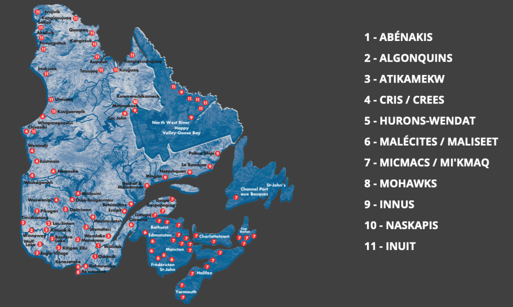 Map of Quebec First Nations communities